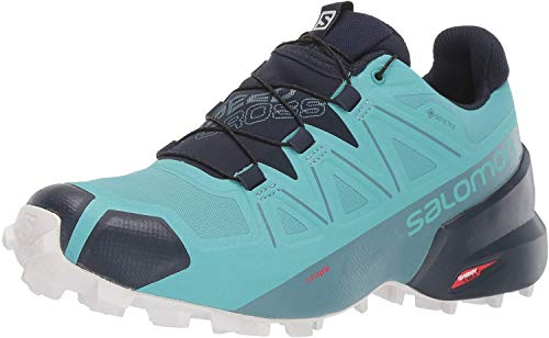 Salomon Women's Speedcross 5 GTX Trail Running Shoes, Meadowbrook/Navy Blazer/White San, 9