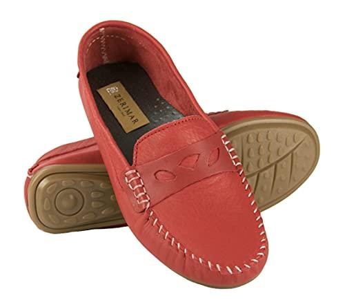 Zerimar Leder Klasische Mokassins | Schuhe Mokassins Damen | Schuhe Mokassin | Loafers Damen Schuhe | Klasische Mokassins | Farbe: Rot Größe 37