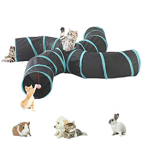 Labyrinthe à 5tunnels interactif, pliable et léger en tissu froissé avec pompon et cloches pour chats, petits lapins, chatons, chiots, furets ou cochons d'Inde