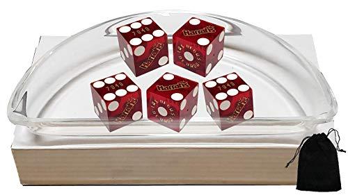 Cyber-Deals Set of 5 Las Vegas Casino 19mm Craps Dice, Clear Acrylic Dice Boat, Black Velvet Pouch (Harrah's (Dark Red Polished))