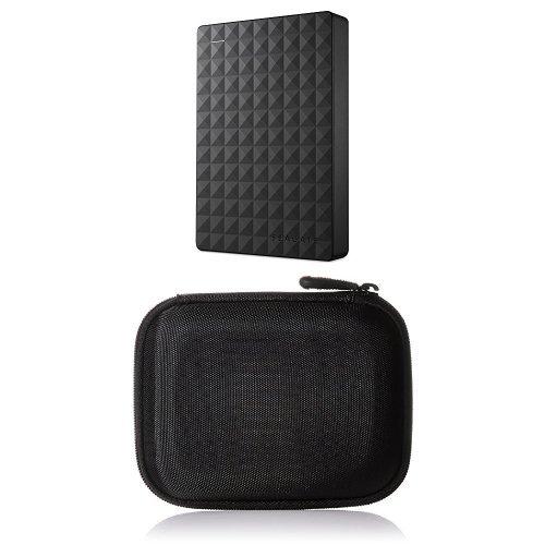 Seagate Expansion Portable 4 TB externe tragbare Festplatte für PC (6,35 cm (2,5 Zoll), Xbox und PS4) & AmazonBasics Festplattentasche, schwarz