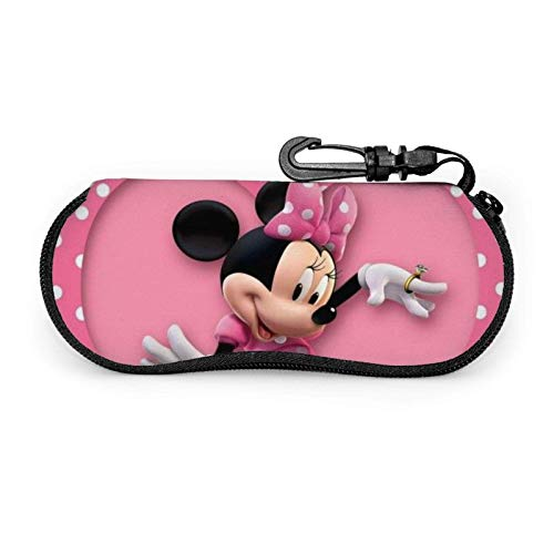 Mickey Mouse Minnie Gafas Caso Hombres Mujeres con Mosquetón Adolescentes Niñas Gafas Bolsas Moda Gafas de Sol Suave Caso Ultra Ligero Neopreno Cremallera