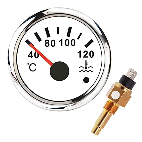 medidor de profundidad para barco Medidor de temperatura de agua de 52 mm digital 40- 120℃ con sensor de temperatura del agua remitente M16 * 1. 5 indicador de medidor de temperatura de agua para bar