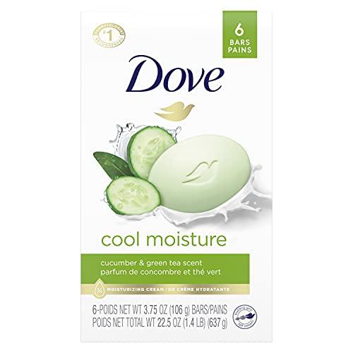Dove Skin Care Beauty Bar For Softer Skin Cucumber And Green Tea More Moisturizing Than Bar Soap 3.75 oz 6 Bars
