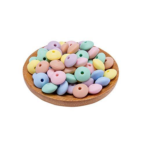 Mamimami Home 50PC Perles en silicone Couleur de sucrerie en pastel doux Qualité alimentaire bébé Teether Bricolage Artisanat