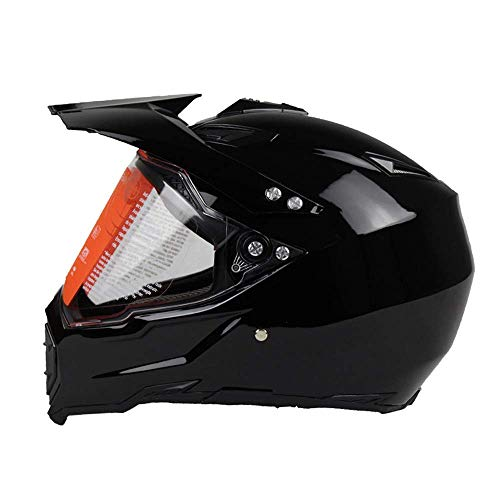 LXTIN Casco de Moto Casco Integral de Moto Motocross (Cristal Negro, L)
