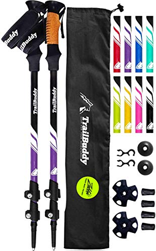 TrailBuddy Lightweight Trekking Poles - 2-pc Pack Adjustable Hiking or Walking Sticks - Strong Aircraft Aluminum - Quick Adjust Flip-Lock - Cork Grip, Padded Strap - (Purple Plum)
