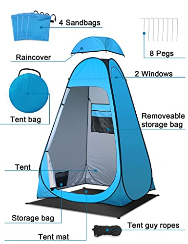 Toilet Tent, Shower Tent with Tent Groundsheet/Pegs/Guy Ropes/Tent Bag, Waterproof Camping Toilet Tent Pop-up Changing…