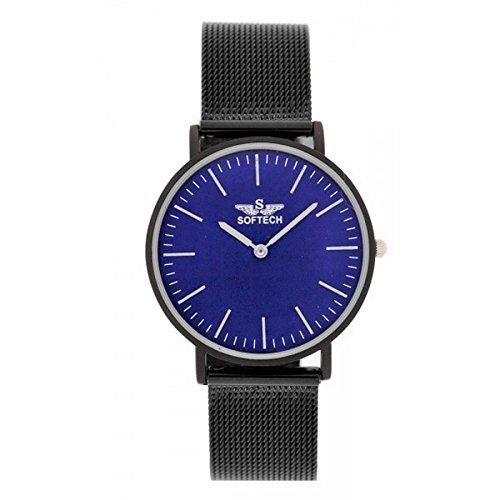 Softech Unisex Schwarz Mesh Strap Metall Uhr Analog Quarz Haken Schnalle Verschluss Extra Batterie (schwarzes Armband mit blauem Gesicht)
