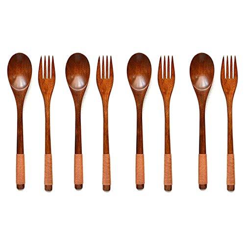 Fhdpeebu 8 StüCk Holz 9 Zoll Japanese L?Ffel Gabel Set KüChen Geschirr Natur Holz Besteck Holz Abendessen Besteck Set