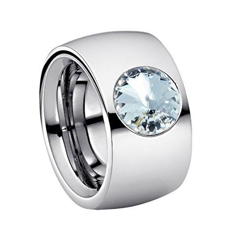 Heideman Ring Damen Coma 14 aus Edelstahl Silber farbend poliert Damenring für Frauen mit Stein Kristall Weiss im Fantasie Edelsteinschliff 10mm
