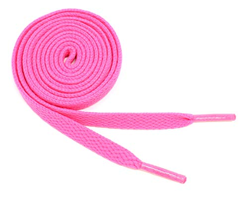 """Flat Shoelaces 5/16"""" Wide Solid Colors Several Lengths For Sneakers and Shoes (Hot Pink-45)"""
