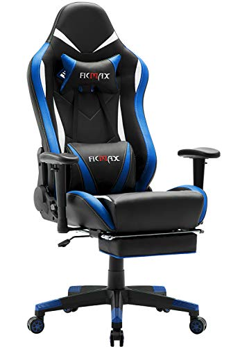 Ficmax Massage Gaming Chair Ergonomic Gamer Chair with Footrest, Reclining Computer Gaming Chair High Back Racing Gaming Chair for E-sport Large Size Home Office Chair with Headrest and Lumbar Support