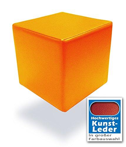 Spielpolster Schaumstoff Würfel in Orange mit hochwertigem Kunstlederbezug und Qualitätsschaumstoff 40 x 40 x 40 cm. Kinder Spielspaß, Sitzhocker, Sitzwürfel, Schaumstoffwürfel. (Orange)