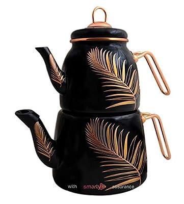 Enamel Turkish Teapot Samovar - Nostalgic Retro Samovar Kettle Special Design Midi Size Caydanlik 2 Lt (Feather)