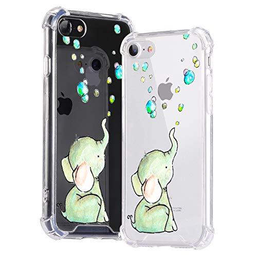Idocolors Custodia iPhone 6/6s Cover Antiurto Protettiva Custodia con Silicone Morbido Bordo [Retro PC Rigido + Cornice di TPU Morbido] Protettiva Bumper Caso Elefante Carino