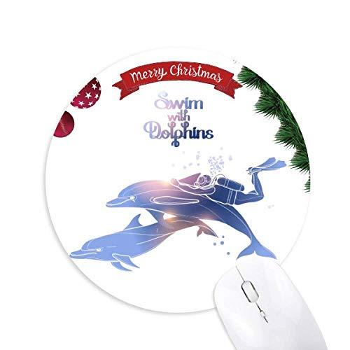 Schwimmen mit Delphinen Illustrieren Rundgummi Pad Weihnachtsbaum Mat