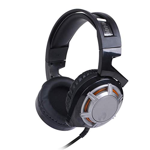 YAJIWU Headphones, Camouflage Gaming Headset,Stereo Surround Sound Noise Cancellation Mic In-Line Control,Over-Ear Gaming Headphones LED Light,Compatible With PC/PS4 (Color : Black)