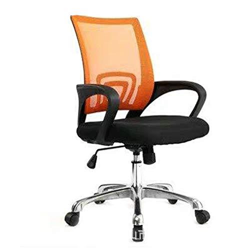 Bürostuhl, bequemer Stoff Computer Stuhl höhenverstellbar Bürostuhl mit Chromunter Padded Drehstuhl, Home/Büromöbel (Color : Orange)