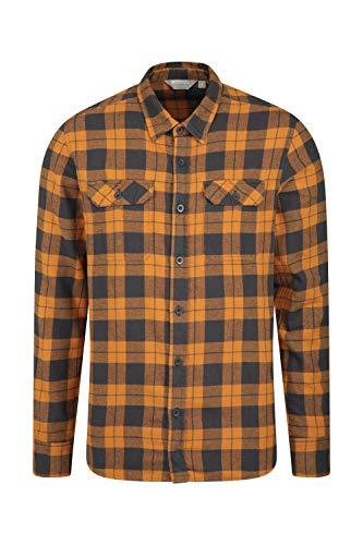 Mountain Warehouse Trace Camicia a Manica Lunga in Flanella Uomo - 100% Cotone, Leggera, Traspirante - Perfetta per Viaggi e Passeggiate Arancione XL