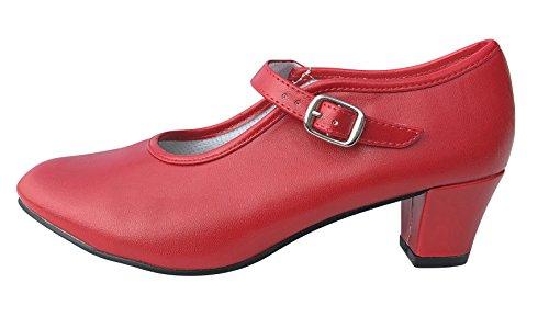 La Senorita Spanische Flamenco Schuhe - Rot für Kinder und Damen (Größe 37 - Innenmaß 23,5 cm)