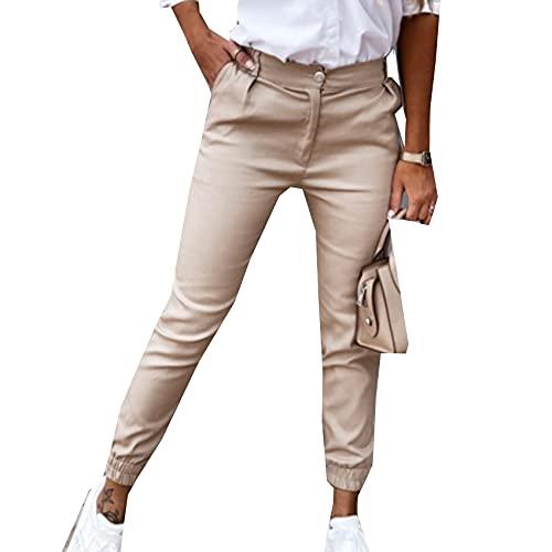 WXMSJN OtoñO Pantalones De Mujer Nuevos Bolsillo Delgado Moda Casual Pantalones De Nueve Puntos