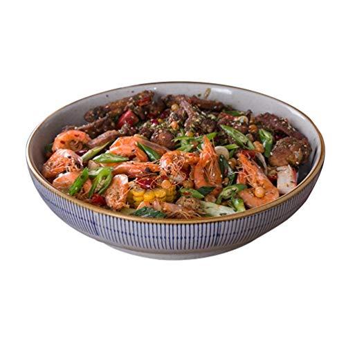 MIEMIE Pot à Soupe en céramique de Grande Taille Grand Bol à Soupe ustensiles d'hôtel Bol de Surface Domestique Plat d'écrevisses Bol de Poisson Bouilli Bol de Bassin de légumes