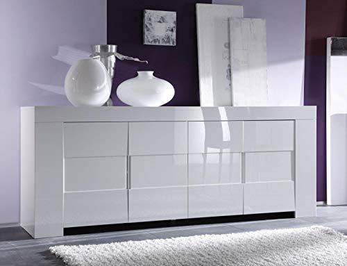 Kasalinea Eleonore - Aparador aparador de 4 puertas, color blanco lacado