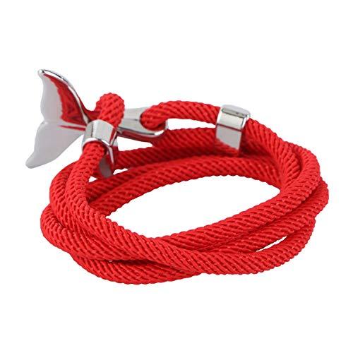 Holibanna Pulsera de Ancla Cola de Ballena Encanto Náutico Multijugador Cuerda Trenzado Tejido Nylon Cuerda Pulsera Plata Rojo