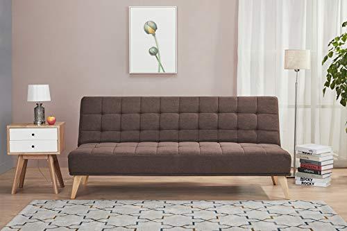 Amazon Basics - Sofá cama de tres plazas, 180 x 86 x 81, marrón rústico