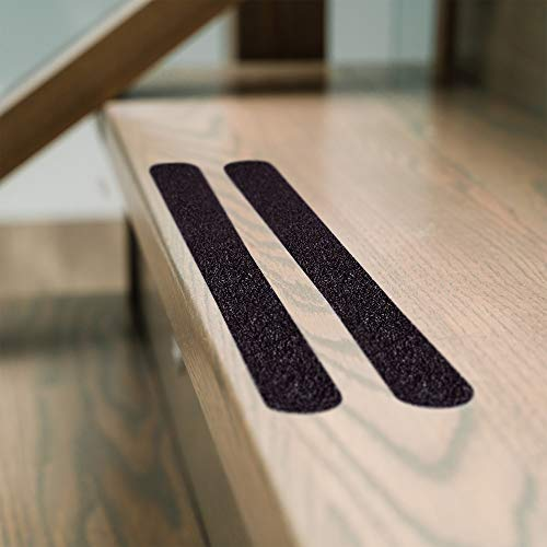 """Non Slip Stair & Floor Grip Strips 20 Pre-cut strips 1"""" x 15.5"""" Anti slip safety tape: Waterproof-Indoor/Outdoor-Commercial adhesive & grit-Prevent Falls.Cars Trucks and Trailers too"""