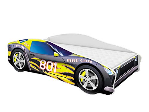 Kinderbett Autobett Auto Junior mit Lattenrost und Matratze 140x70 160x80 180x80 ACMA (160x80, 6)