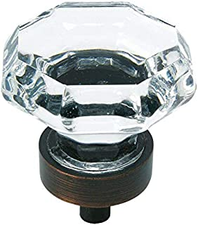 10 Pack - Cosmas 5268ORB-C Oil Rubbed Bronze Cabinet Hardware Knob with Clear Glass - 1-5/16