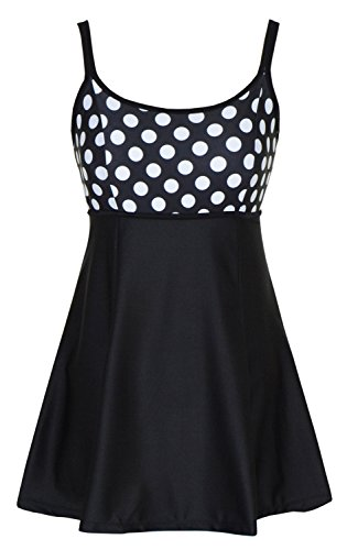 DANIFY Women's One Piece Polka Dot Swimdress Cover Up Swimsuit Plus Size Modest Swimwear Polka Dot IT62/US28
