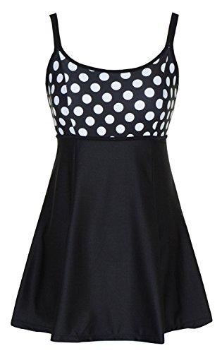 DANIFY Women's One Piece Polka Dot Swimdress Cover Up Swimsuit Plus Size Modest Swimwear Polka Dot IT46/US12