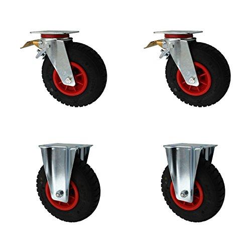 Set 230 mm Luftberefte Transportrollen 2 x Lenkrollen Bremse + 2 x Bockrollen Transportgeräterolle