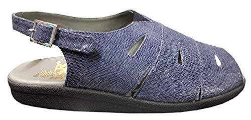 Bär Damen Sandalen, Leder, blau/Prägung, 38