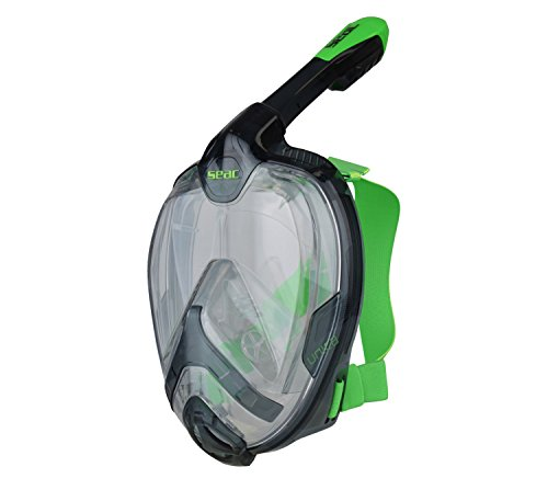 SEAC - Máscara Sumergible Integral para Buceo con visión Completa de 180 ° Juventus, Unisex, Negro/Verde, S/M
