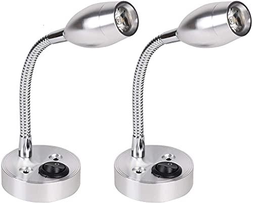 2 lámparas de pared flexibles LED de 12 V, lámpara de lectura, lámpara de cama, lámpara de cama, lámpara de lectura, cuello de cisne, luz para salón, lámpara de pared, puerta, caravana, barco