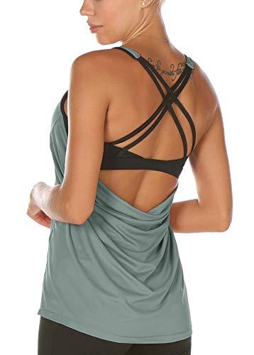 icyzone Damen Sport Yoga Top mit BH - 2 in 1 Fitness Shirt Cross Back BH Training Tanktop (L, Dusk Blue)