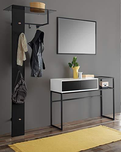 MCA Garderobe Set 3-teilig Kasan in weiß und schwarz matt lackiert Garderobenkombination 206 x 190 cm