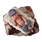 Coberllus Newborn Monthly Baby Photo Props Stripe Cool Boys Cap Rompers Photography (Grey)
