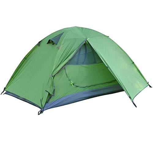 TSAUTOP Tienda de campaña de doble capa para 2 personas, impermeable, para 3 temporadas, senderismo, camping, playa, viajes (color: verde)