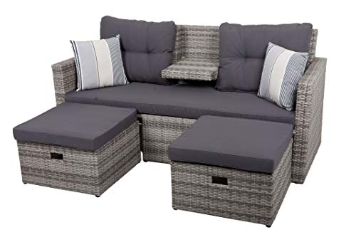 Garden Pleasure Gartenmöbel Set Lounge-Sofa, Aluminium, Kunstst, Grau, Anthrazit