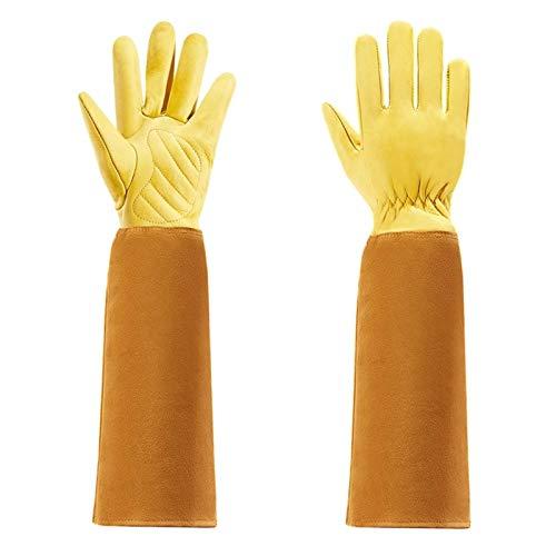 Gants de Jardinage pour Femmes et Hommes Thon épreugs Rose Cuisson Cuir Gants en Cuir de Vache avec Gant de Protection de l'avant-Bras Long (Color : Yellow, Size : L)