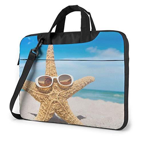 Asa Dutt528251 Estuche para computadora portátil Funda para bolsa de computadora Estrella de mar con gafas de sol Maletín de hombro impermeable 13 14 15.6 pulgadas