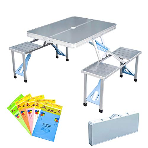 Folding Picnic Table and Beach Set Siamese Tables and Chairs Set Aluminum Alloy Portable Desk with 4 Seats for Indoor Outdoor Travel CampingHole for Parasol Foldable with HandleAluminum