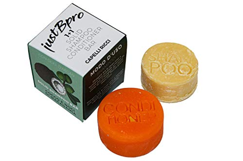 JUSTBPRO Set Shampoo Solido Balsamo Solido Capelli Ricci Naturale Artigianale Bio Vegano Plastic Free Zero Waste Ecosostenibile Senza Allergeni Made In Italy - Idratante Nutriente Anticrespo
