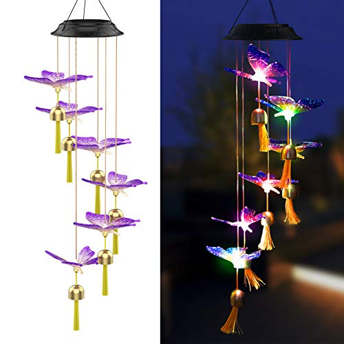 Njeury Solar Butterfly Wind Chimes Lights with Bell, Outdoor Color Changing RGB LED Hanging Lights with Metal S Hook, IP65, for Outside, Garden, Patio, Yard Decor, Housewarming Gifts, Birthday Gifts