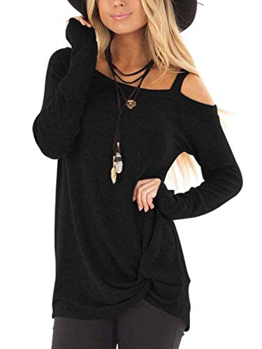 Famulily Womens Cold Shoulder Long Sleeve Shirts Front Twist Knot Casual Tunic Tops(M,Black)